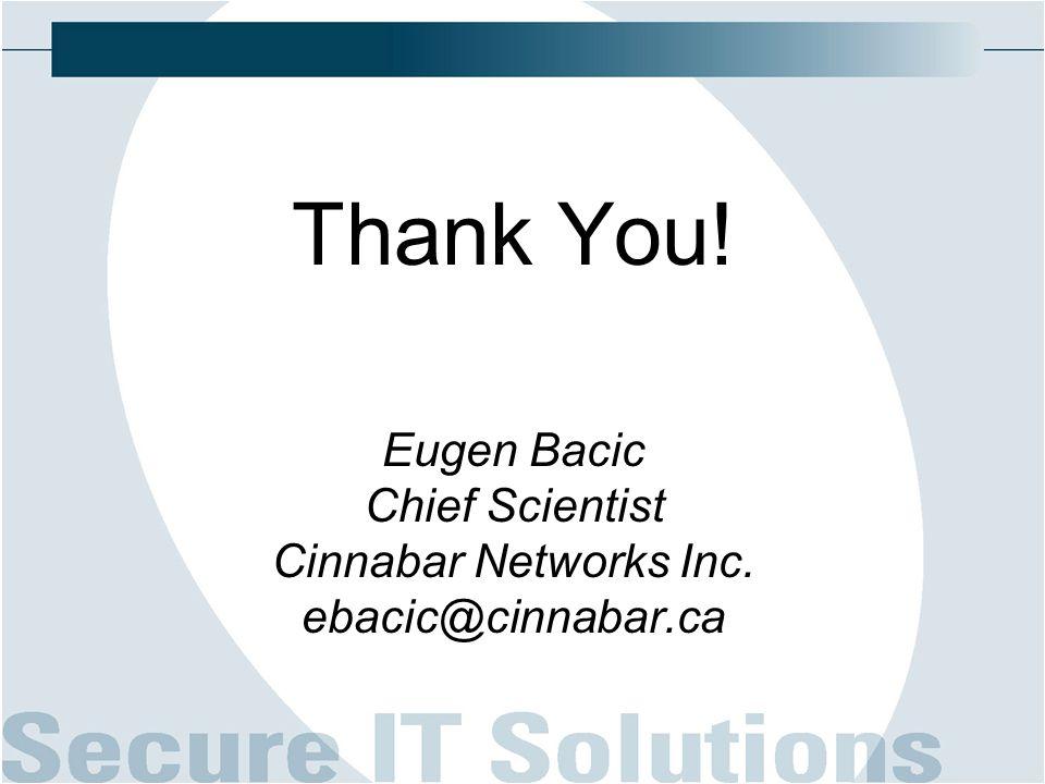 Thank You! Eugen Bacic Chief Scientist Cinnabar Networks Inc. ebacic@cinnabar.ca