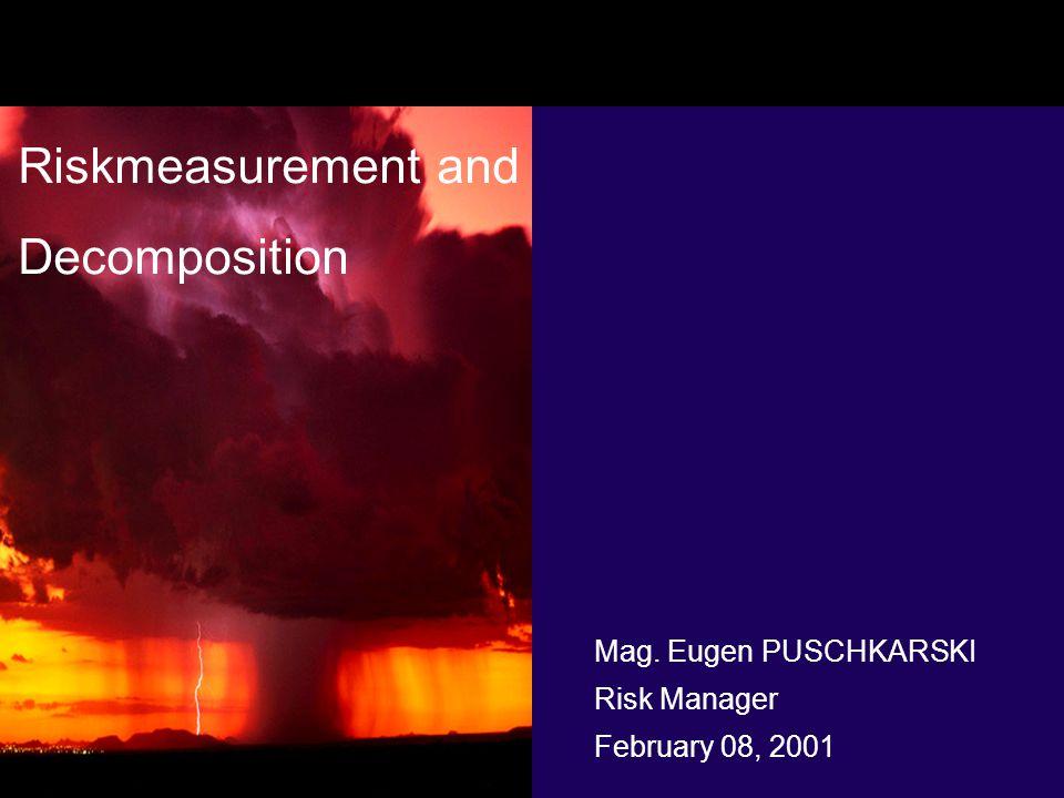 Mag. Eugen PUSCHKARSKI Risk Manager February 08, 2001 Riskmeasurement and Decomposition