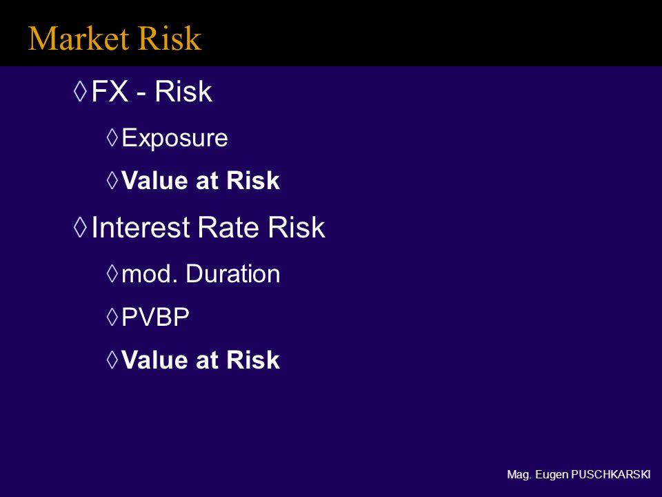 Mag. Eugen PUSCHKARSKI  FX - Risk  Exposure  Value at Risk  Interest Rate Risk  mod.