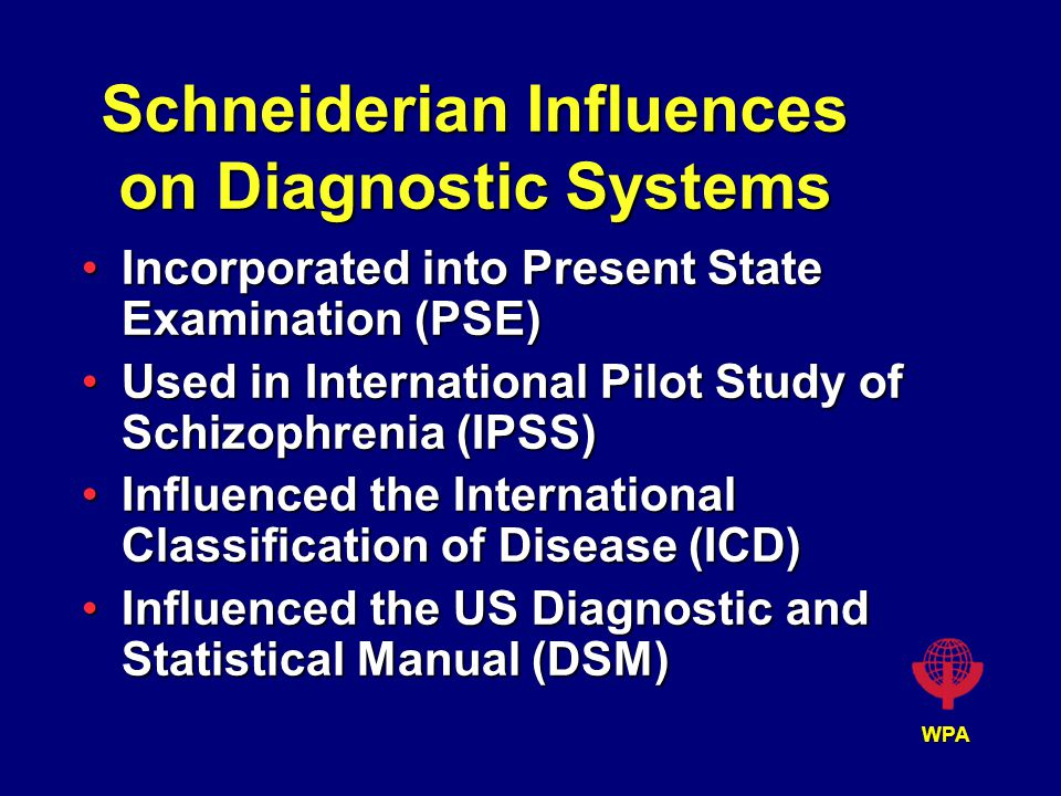 WPA Schneiderian Influences on Diagnostic Systems Incorporated into Present State Examination (PSE)Incorporated into Present State Examination (PSE) Used in International Pilot Study of Schizophrenia (IPSS)Used in International Pilot Study of Schizophrenia (IPSS) Influenced the International Classification of Disease (ICD)Influenced the International Classification of Disease (ICD) Influenced the US Diagnostic and Statistical Manual (DSM)Influenced the US Diagnostic and Statistical Manual (DSM)
