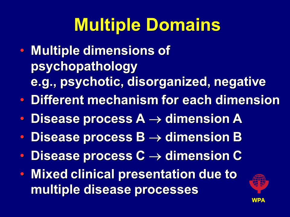 WPA Multiple Domains Multiple dimensions of psychopathology e.g., psychotic, disorganized, negativeMultiple dimensions of psychopathology e.g., psychotic, disorganized, negative Different mechanism for each dimensionDifferent mechanism for each dimension Disease process A  dimension ADisease process A  dimension A Disease process B  dimension BDisease process B  dimension B Disease process C  dimension CDisease process C  dimension C Mixed clinical presentation due to multiple disease processesMixed clinical presentation due to multiple disease processes