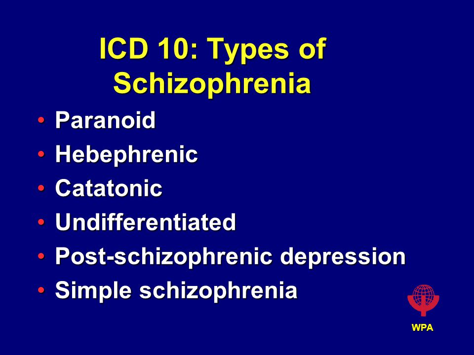 WPA ICD 10: Types of Schizophrenia ParanoidParanoid HebephrenicHebephrenic CatatonicCatatonic UndifferentiatedUndifferentiated Post-schizophrenic depressionPost-schizophrenic depression Simple schizophreniaSimple schizophrenia