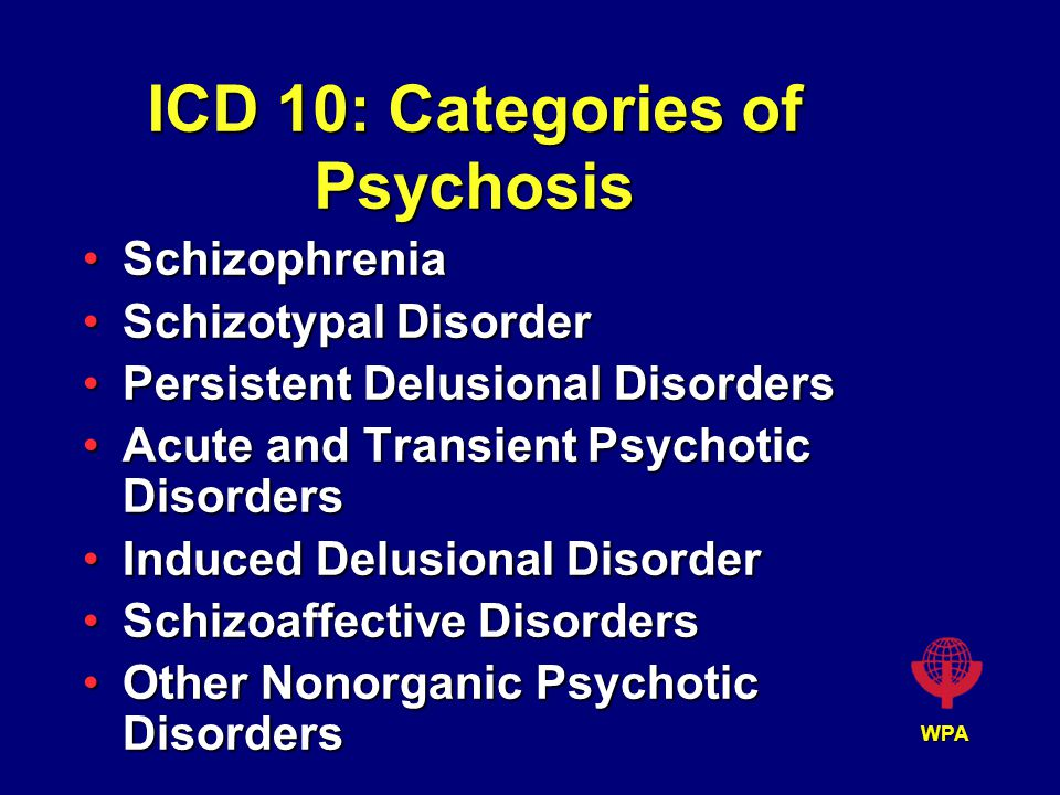 WPA ICD 10: Categories of Psychosis SchizophreniaSchizophrenia Schizotypal DisorderSchizotypal Disorder Persistent Delusional DisordersPersistent Delusional Disorders Acute and Transient Psychotic DisordersAcute and Transient Psychotic Disorders Induced Delusional DisorderInduced Delusional Disorder Schizoaffective DisordersSchizoaffective Disorders Other Nonorganic Psychotic DisordersOther Nonorganic Psychotic Disorders