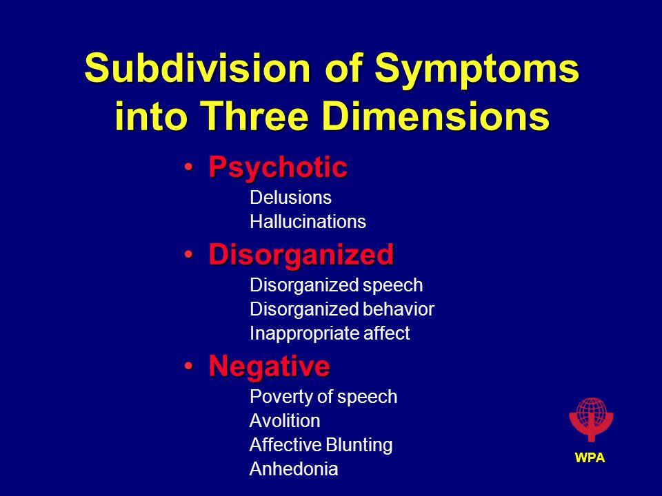 WPA Subdivision of Symptoms into Three Dimensions PsychoticPsychotic Delusions Hallucinations DisorganizedDisorganized Disorganized speech Disorganized behavior Inappropriate affect NegativeNegative Poverty of speech Avolition Affective Blunting Anhedonia
