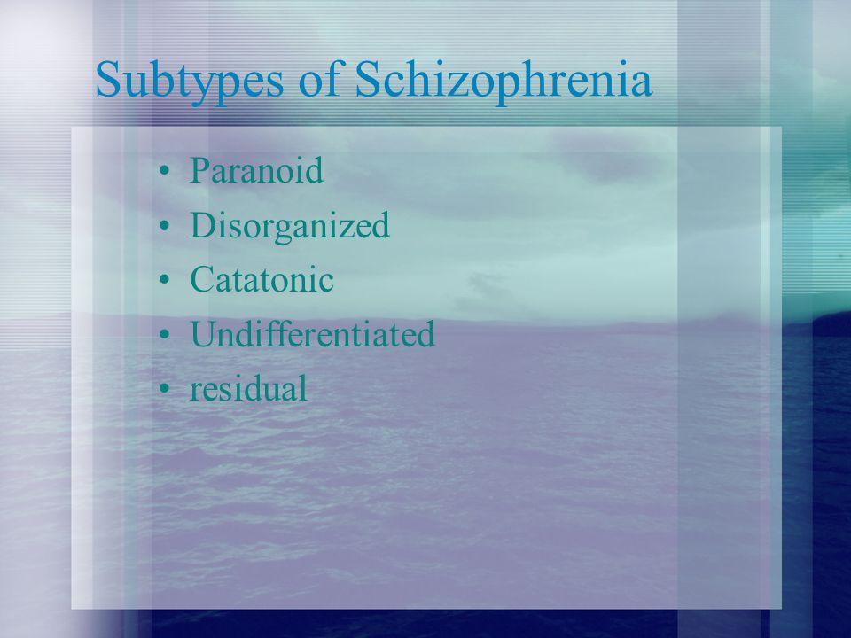 Subtypes of Schizophrenia Paranoid Disorganized Catatonic Undifferentiated residual