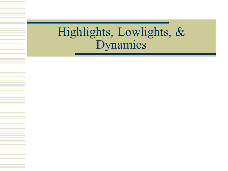 Highlights, Lowlights, & Dynamics