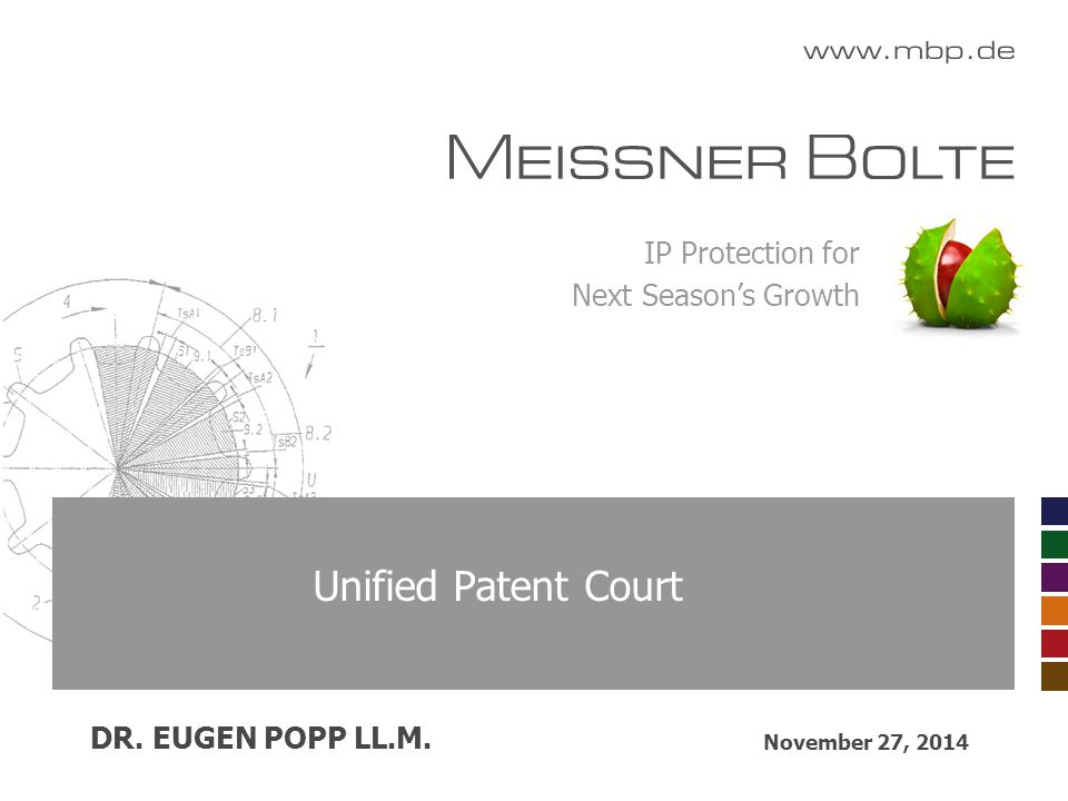 IP Protection for Next Season's Growth Unified Patent Court November 27, 2014 DR. EUGEN POPP LL.M.