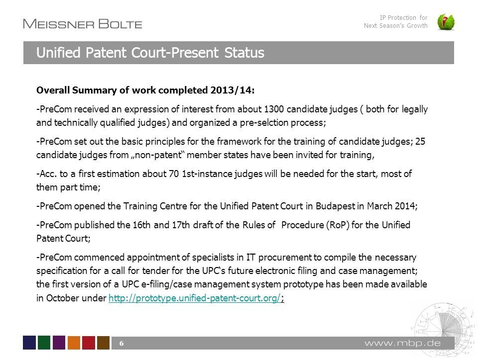 IP Protection for Next Season's Growth Overall Summary of work completed 2013/14: -PreCom received an expression of interest from about 1300 candidate