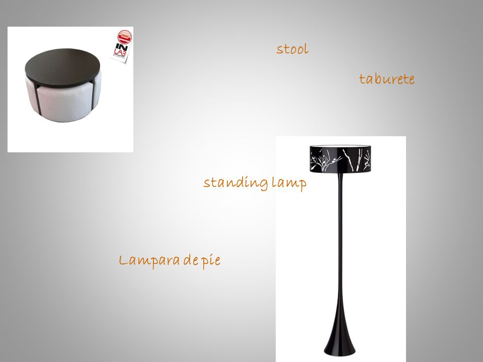 stool taburete standing lamp Lampara de pie