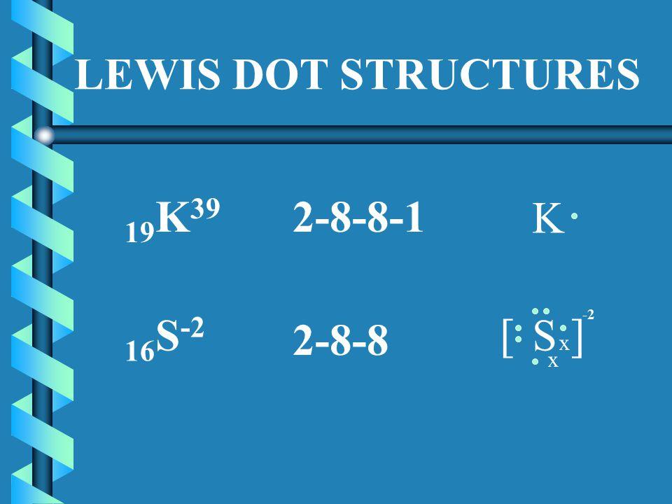 LEWIS DOT STRUCTURES 19 K 39 2-8-8-1 K 16 S -2 2-8-8 S x x [ ] -2