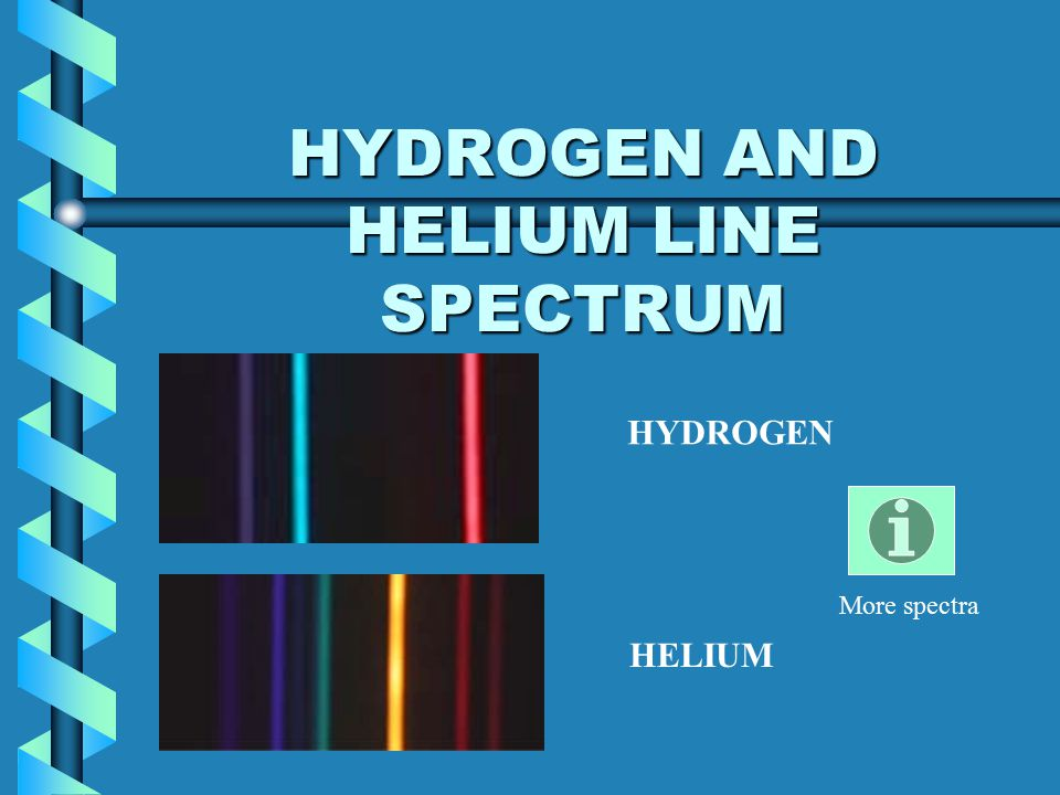 HYDROGEN AND HELIUM LINE SPECTRUM HYDROGEN HELIUM More spectra