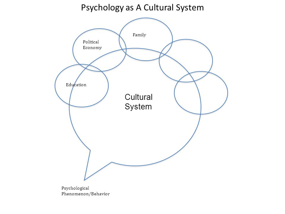 Psychology as A Cultural System Psychological Phenomenon/Behavior Education Political Economy Family Cultural System