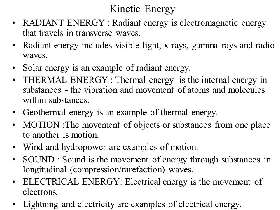 Potential Energy CHEMICAL ENERGY : Chemical energy is the energy stored in the bonds of atoms and molecules. Biomass, petroleum, natural gas, propane