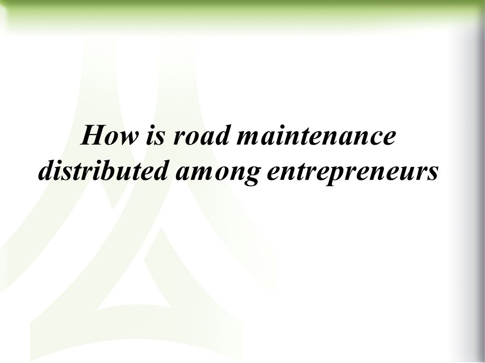 How is road maintenance distributed among entrepreneurs
