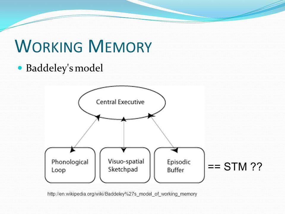 W ORKING M EMORY Baddeley s model http://en.wikipedia.org/wiki/Baddeley%27s_model_of_working_memory == STM