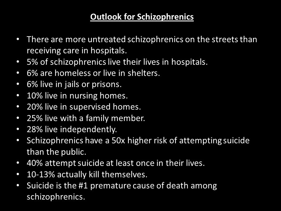 Outlook for Schizophrenics There are more untreated schizophrenics on the streets than receiving care in hospitals.