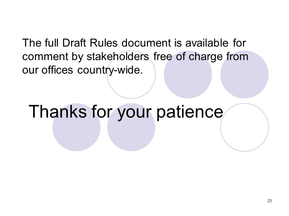25 The full Draft Rules document is available for comment by stakeholders free of charge from our offices country-wide.