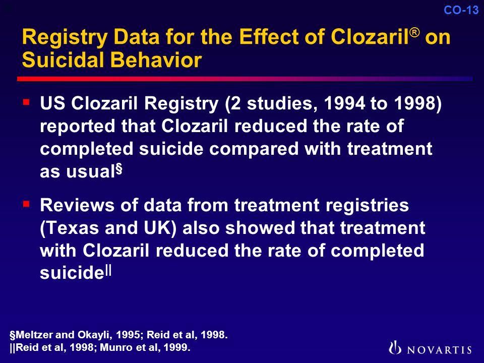 CO-13 Registry Data for the Effect of Clozaril ® on Suicidal Behavior  US Clozaril Registry (2 studies, 1994 to 1998) reported that Clozaril reduced the rate of completed suicide compared with treatment as usual §  Reviews of data from treatment registries (Texas and UK) also showed that treatment with Clozaril reduced the rate of completed suicide || §Meltzer and Okayli, 1995; Reid et al, 1998.