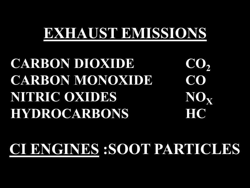 EXHAUST EMISSIONS CARBON DIOXIDE CO 2 CARBON MONOXIDE CO NITRIC OXIDESNO X HYDROCARBONS HC CI ENGINES :SOOT PARTICLES
