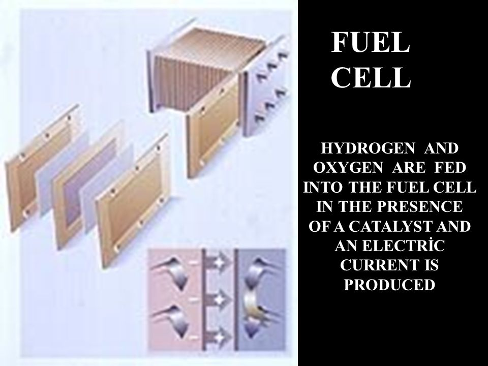 FUEL CELL HYDROGEN AND OXYGEN ARE FED INTO THE FUEL CELL IN THE PRESENCE OF A CATALYST AND AN ELECTRİC CURRENT IS PRODUCED