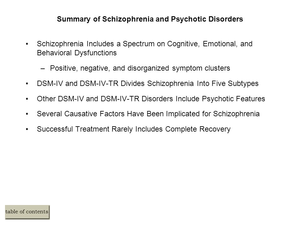Summary of Schizophrenia and Psychotic Disorders Schizophrenia Includes a Spectrum on Cognitive, Emotional, and Behavioral Dysfunctions –Positive, negative, and disorganized symptom clusters DSM-IV and DSM-IV-TR Divides Schizophrenia Into Five Subtypes Other DSM-IV and DSM-IV-TR Disorders Include Psychotic Features Several Causative Factors Have Been Implicated for Schizophrenia Successful Treatment Rarely Includes Complete Recovery