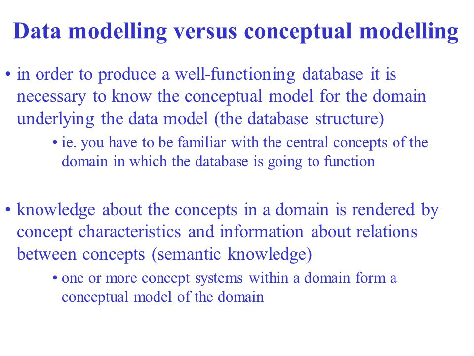 Data modelling versus conceptual modelling in order to produce a well-functioning database it is necessary to know the conceptual model for the domain