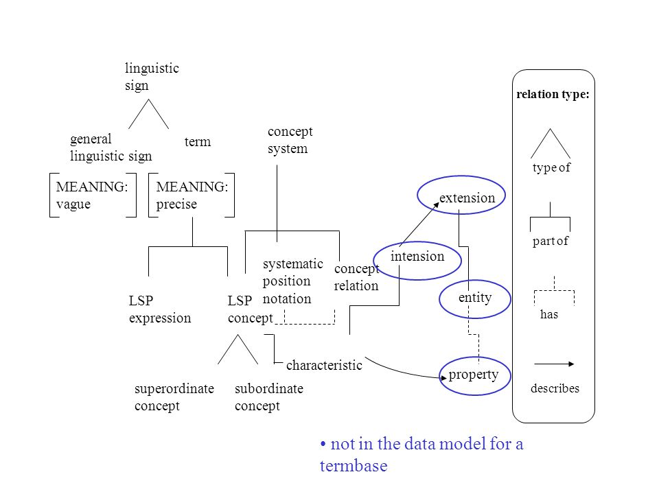 entity relation type: type of part of has describes characteristic linguistic sign general linguistic sign term LSP expression LSP concept superordinate concept subordinate concept concept system concept relation intension extension property systematic position notation MEANING: vague MEANING: precise not in the data model for a termbase