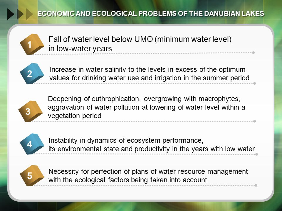 ECONOMIC AND ECOLOGICAL PROBLEMS OF THE DANUBIAN LAKES ECONOMIC AND ECOLOGICAL PROBLEMS OF THE DANUBIAN LAKES Fall of water level below UMO (minimum water level) in low-water years 1 Increase in water salinity to the levels in excess of the optimum values for drinking water use and irrigation in the summer period 2 Deepening of euthrophication, overgrowing with macrophytes, aggravation of water pollution at lowering of water level within a vegetation period 3 Instability in dynamics of ecosystem performance, its environmental state and productivity in the years with low water 45 Necessity for perfection of plans of water-resource management with the ecological factors being taken into account