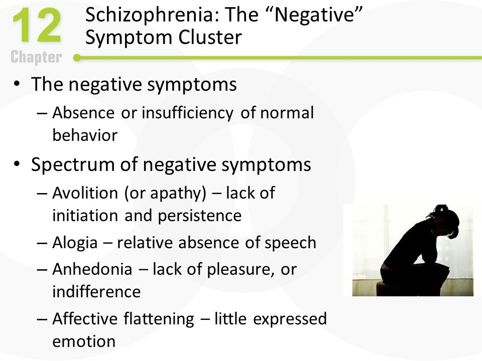 Schizophrenia: The Disorganized Symptom Cluster The disorganized symptoms – Severe and excess speech, behavior, and emotion disorganized speech – Cognitive slippage – illogical and incoherent speech – Tangentiality – going off on a tangent disorganized affect – Inappropriate emotional behavior disorganized behavior – Catatonia spectrum