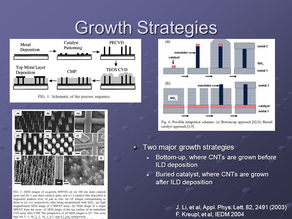 Growth Strategies Two major growth strategies Bottom-up, where CNTs are grown before ILD deposition Bottom-up, where CNTs are grown before ILD deposit