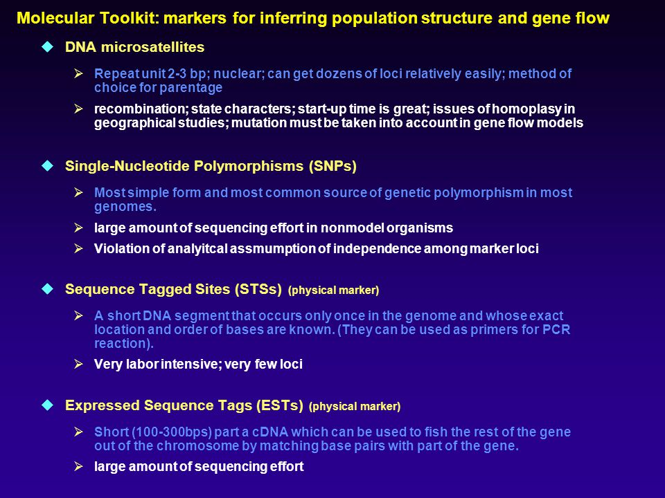  DNA microsatellites  Repeat unit 2-3 bp; nuclear; can get dozens of loci relatively easily; method of choice for parentage  recombination; state characters; start-up time is great; issues of homoplasy in geographical studies; mutation must be taken into account in gene flow models  Single-Nucleotide Polymorphisms (SNPs)  Most simple form and most common source of genetic polymorphism in most genomes.