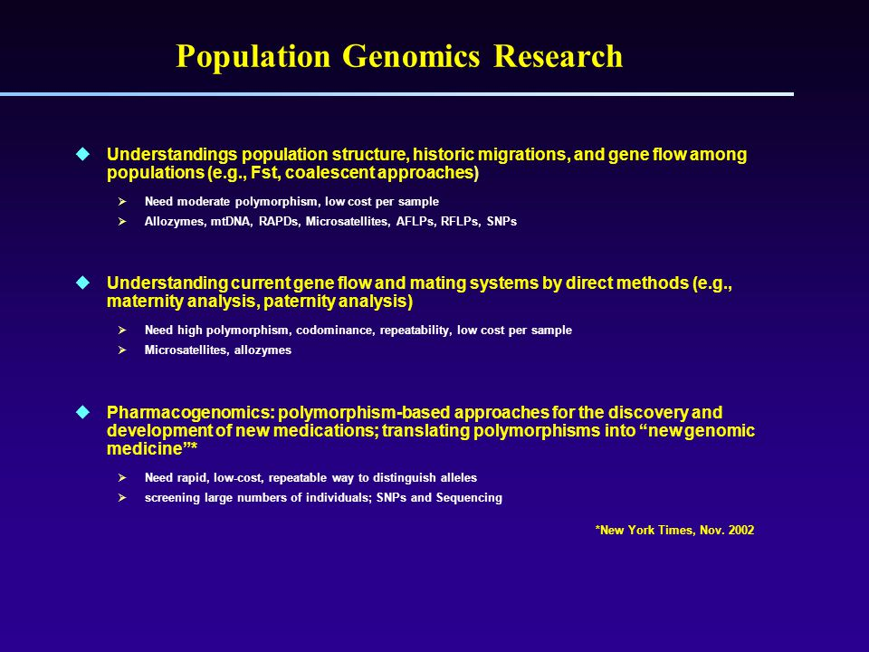 Population Genomics Research  Understandings population structure, historic migrations, and gene flow among populations (e.g., Fst, coalescent approaches)  Need moderate polymorphism, low cost per sample  Allozymes, mtDNA, RAPDs, Microsatellites, AFLPs, RFLPs, SNPs  Understanding current gene flow and mating systems by direct methods (e.g., maternity analysis, paternity analysis)  Need high polymorphism, codominance, repeatability, low cost per sample  Microsatellites, allozymes  Pharmacogenomics: polymorphism-based approaches for the discovery and development of new medications; translating polymorphisms into new genomic medicine *  Need rapid, low-cost, repeatable way to distinguish alleles  screening large numbers of individuals; SNPs and Sequencing *New York Times, Nov.