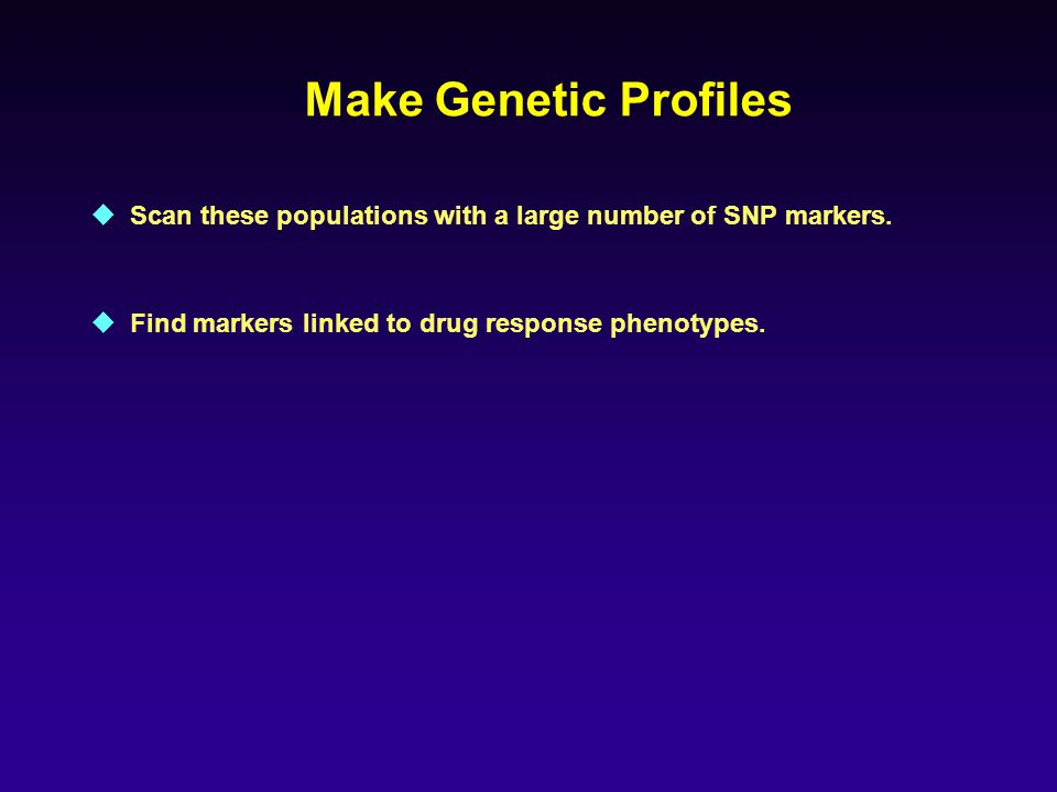  Scan these populations with a large number of SNP markers.