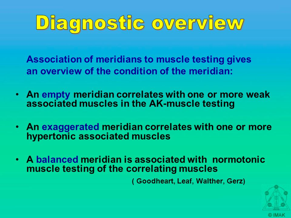 Association of meridians to muscle testing gives an overview of the condition of the meridian: An empty meridian correlates with one or more weak associated muscles in the AK-muscle testing An exaggerated meridian correlates with one or more hypertonic associated muscles A balanced meridian is associated with normotonic muscle testing of the correlating muscles ( Goodheart, Leaf, Walther, Gerz)