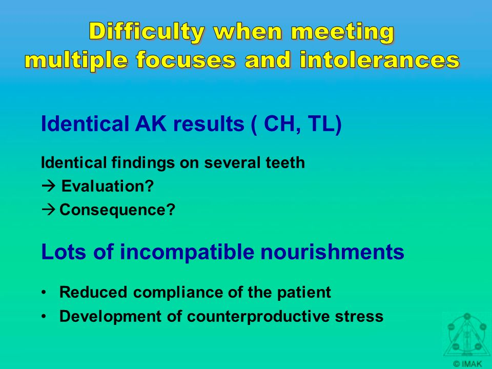 Identical AK results ( CH, TL) Identical findings on several teeth  Evaluation.