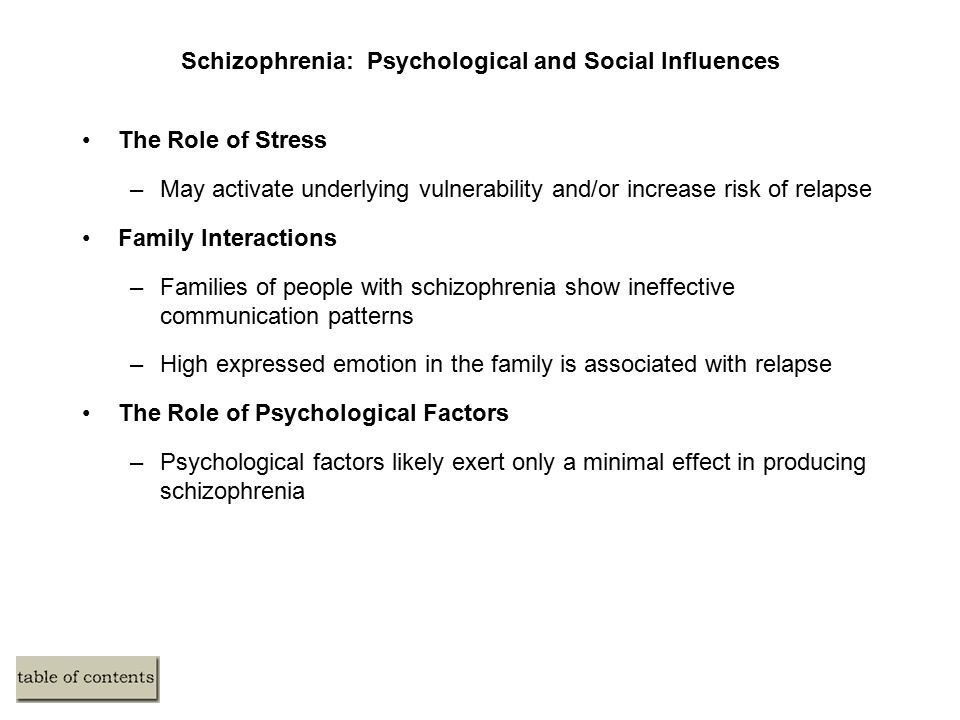 Schizophrenia: Psychological and Social Influences The Role of Stress –May activate underlying vulnerability and/or increase risk of relapse Family Interactions –Families of people with schizophrenia show ineffective communication patterns –High expressed emotion in the family is associated with relapse The Role of Psychological Factors –Psychological factors likely exert only a minimal effect in producing schizophrenia