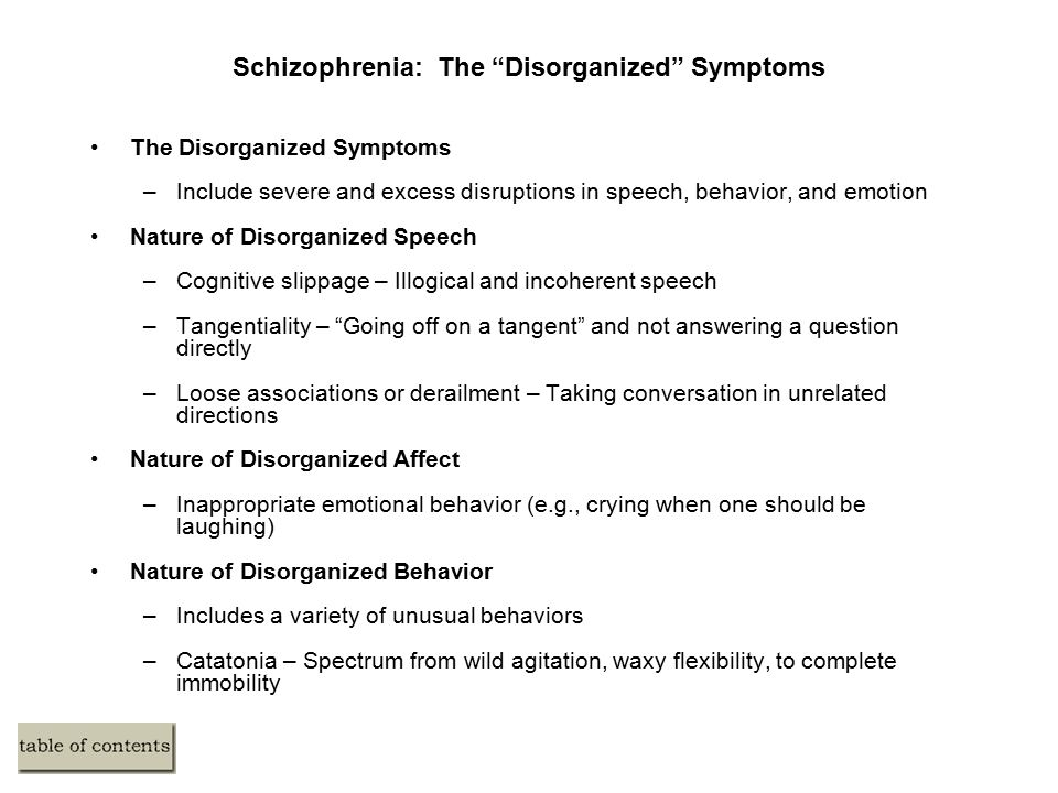 Medical Treatment of Schizophrenia Historical Precursors Antipsychotic (Neuroleptic) Medications –Medication is often the first line of treatment for schizophrenia –Began in the 1950s –Most medications reduce or eliminate the positive symptoms of schizophrenia –Acute and permanent extrapyramidal and Parkinson-like side effects are common –Poor compliance with medication is common Transcranial Magnetic Stimulation –Relatively untested procedure for treatment of hallucinations
