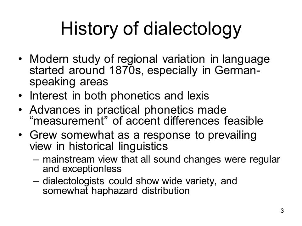 4 Georg Wenker (1876) mailed a questionnaire with 38 short sentences to 1266 schoolmasters in the Rhine valley, asking them to translate them into local dialect Extended survey to other parts of Germany over next few years: 44,251 responses in total Data quality very variable: informants were not trained
