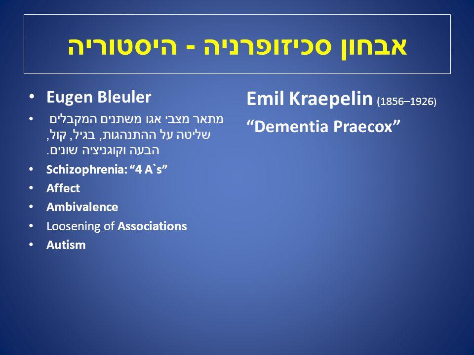 אבחון סכיזופרניה - היסטוריה Emil Kraepelin (1856–1926 ) Dementia Praecox Eugen Bleuler מתאר מצבי אגו משתנים המקבלים שליטה על ההתנהגות, בגיל, קול, הבעה וקוגניציה שונים.