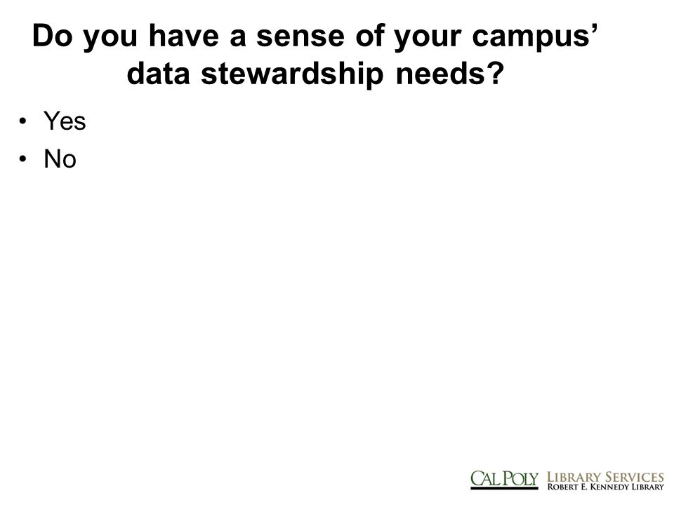 Findings:: Sharing, Description Few faculty are aware of criteria for the creation of descriptive information to aid in the discovery & reuse of data <10% report being knowledgeable of or frequently use criteria While the majority of faculty believe it is important to share data with others (and that their colleagues do the same), fewer than half report sharing data