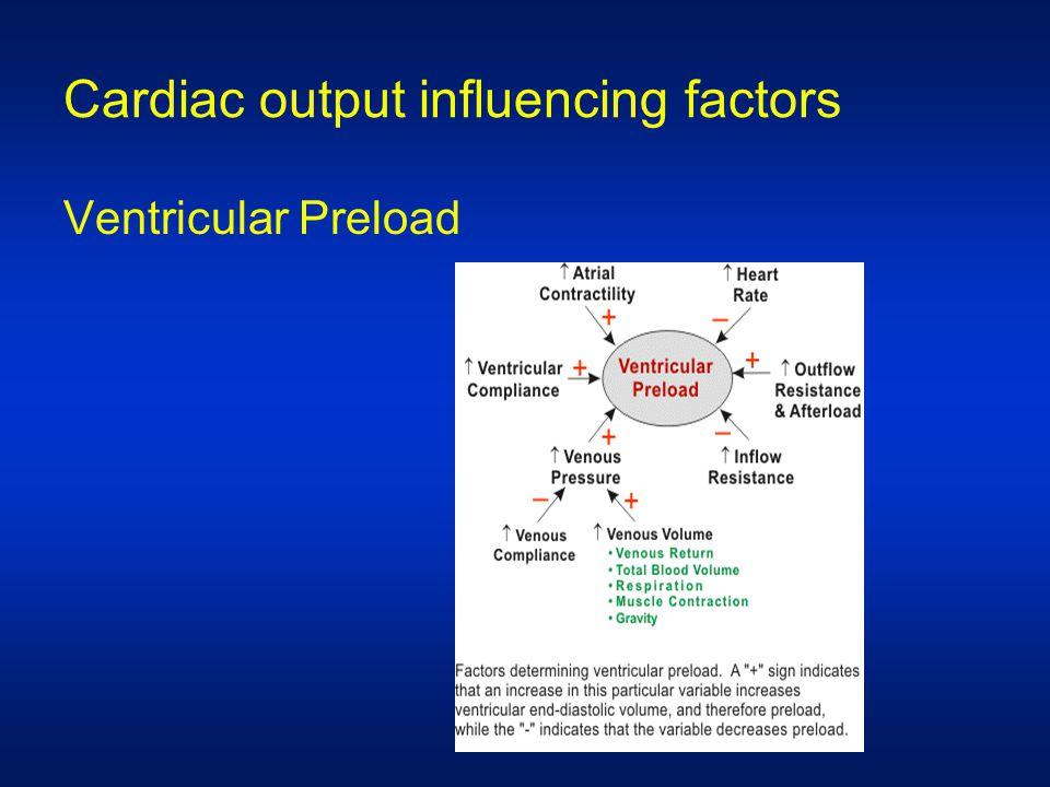 Cardiac output influencing factors Ventricular Preload