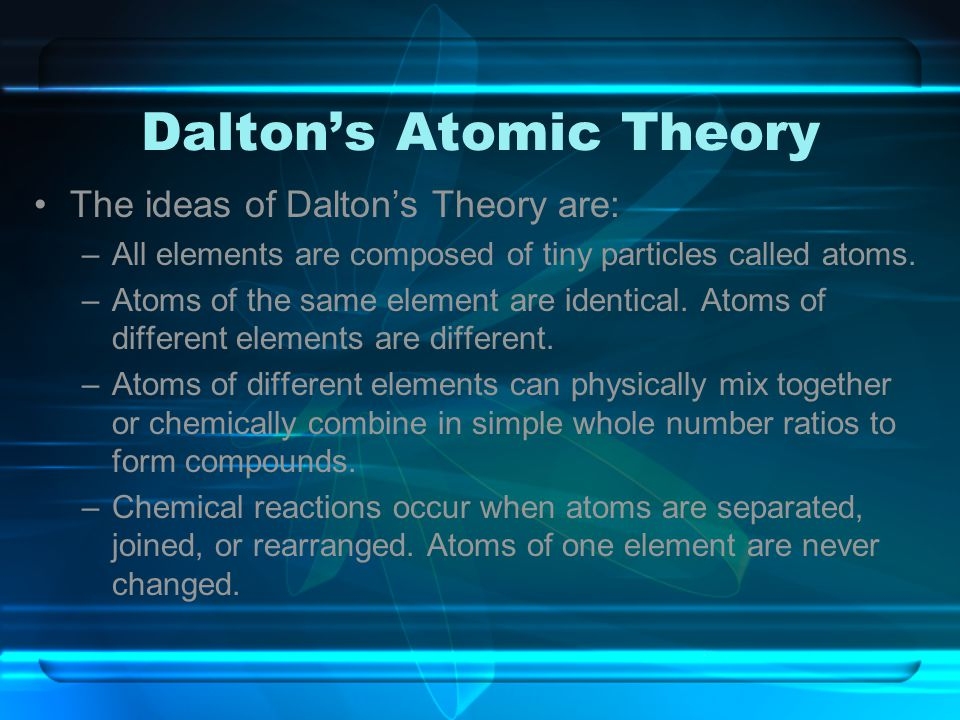 Dalton's Atomic Theory The ideas of Dalton's Theory are: –All elements are composed of tiny particles called atoms. –Atoms of the same element are ide