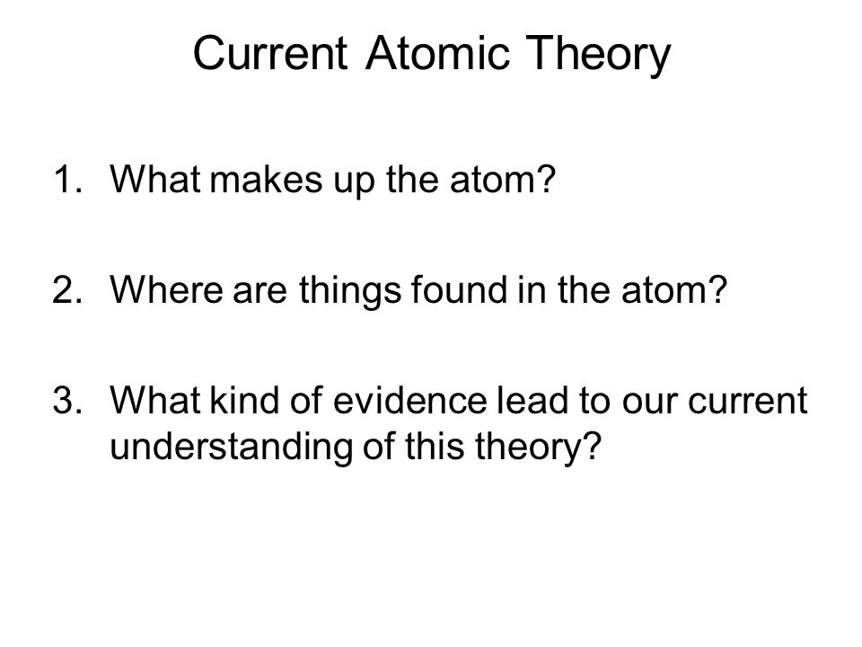 Current Atomic Theory 1.What makes up the atom. 2.Where are things found in the atom.