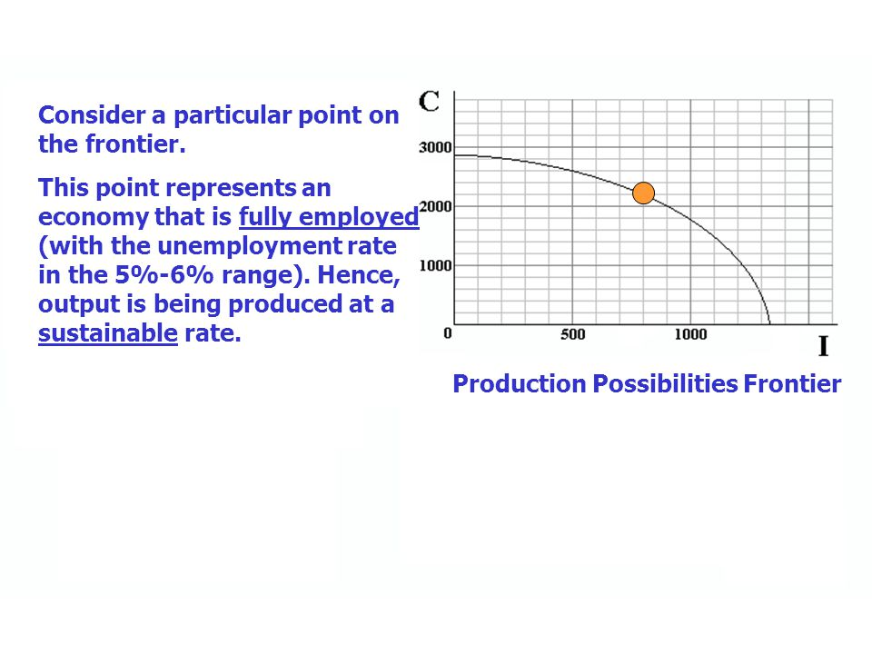Production Possibilities Frontier The PPF shows the maximum sustainable level of output as a locus of points representing all possible combinations of