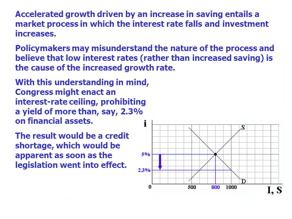 Accelerated growth driven by an increase in saving entails a market process in which the interest rate falls and investment increases. Policymakers ma