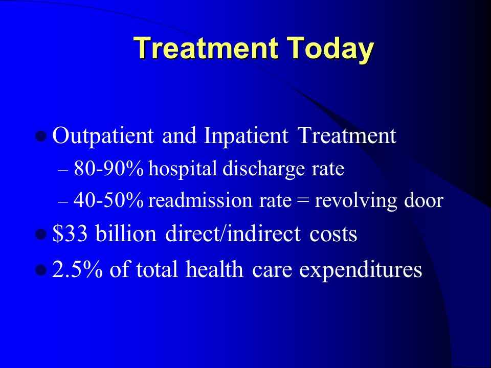 Treatment Today Outpatient and Inpatient Treatment – 80-90% hospital discharge rate – 40-50% readmission rate = revolving door $33 billion direct/indirect costs 2.5% of total health care expenditures