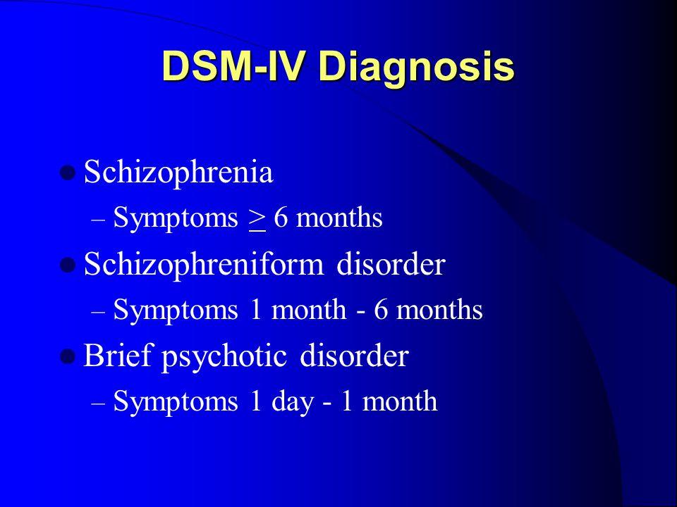 DSM-IV Diagnosis Schizophrenia – Symptoms > 6 months Schizophreniform disorder – Symptoms 1 month - 6 months Brief psychotic disorder – Symptoms 1 day - 1 month