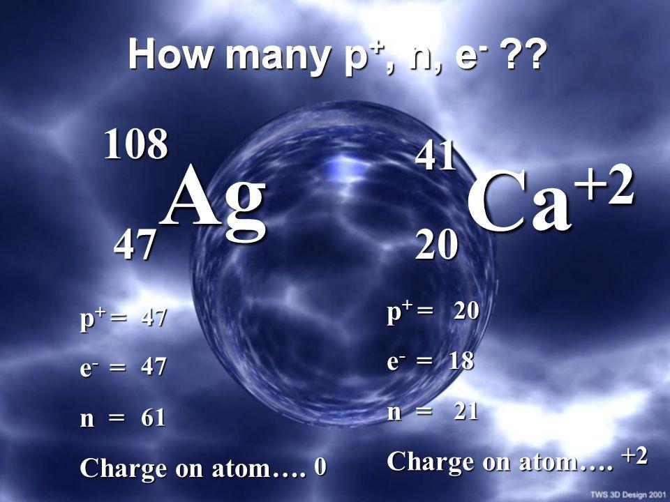 How many p +, n, e - ?? 108 47 Ag Ag 20 Ca +2 Ca +2 41 p + = e - = n = Charge on atom…. p + = e - = n = Charge on atom…. 47 47 61 20 18 21 0 +2
