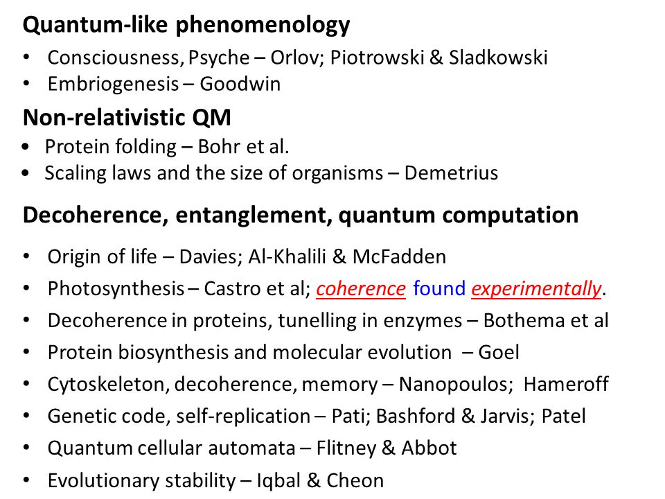 Decoherence, entanglement, quantum computation Origin of life – Davies; Al-Khalili & McFadden Photosynthesis – Castro et al; coherence found experimentally.