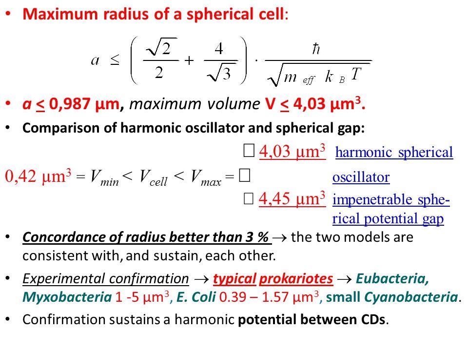 Maximum radius of a spherical cell: a < 0,987 µm, maximum volume V < 4,03 µm 3. Comparison of harmonic oscillator and spherical gap:   4,03 µm 3 ha